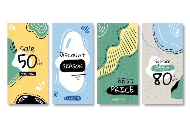 Coleção de histórias do instagram de venda no estilo terrazzo