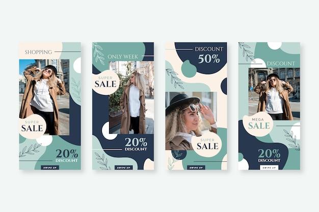 Coleção de histórias do instagram de venda orgânica