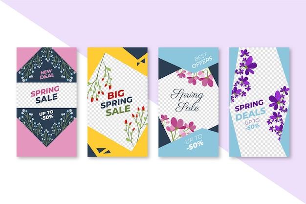 Coleção de histórias do instagram de venda para a primavera