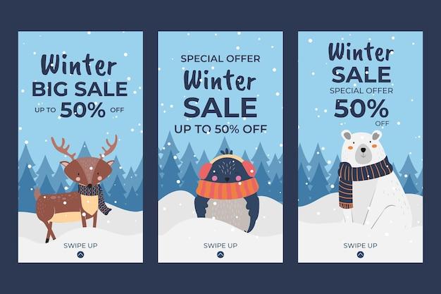 Coleção de histórias do instagram de venda plana de inverno desenhada à mão com animais de inverno