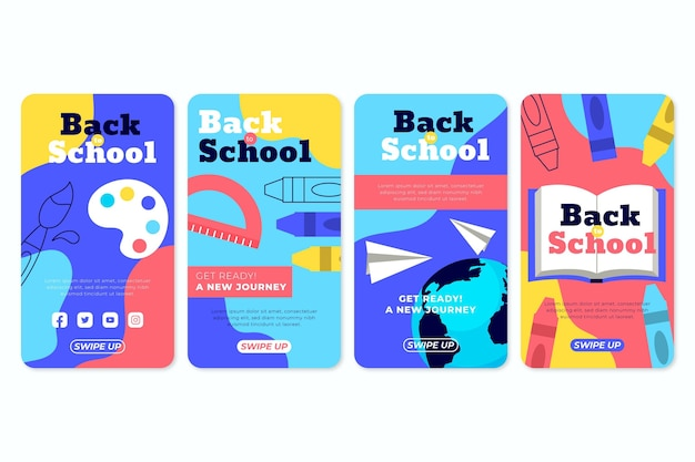 Coleção de histórias do instagram de volta à escola