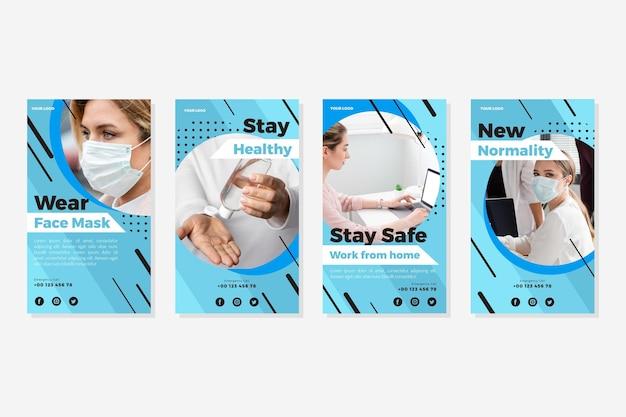 Coleção de histórias do instagram do coronavirus