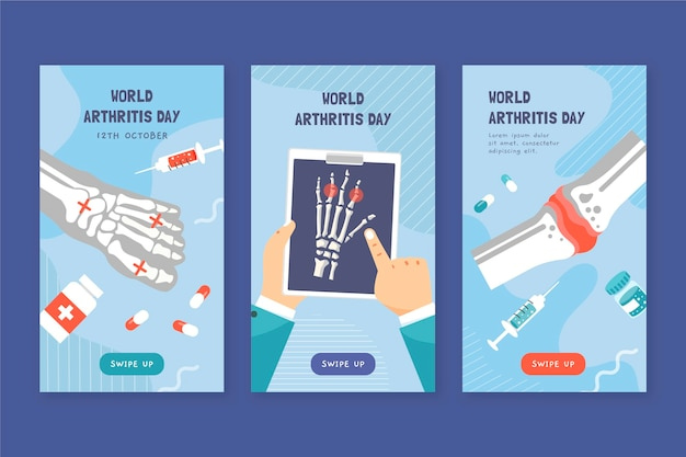 Coleção de histórias do instagram do dia da artrite desenhada à mão