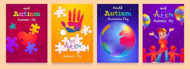 Coleção de histórias do instagram do dia da conscientização do autismo no mundo dos desenhos animados