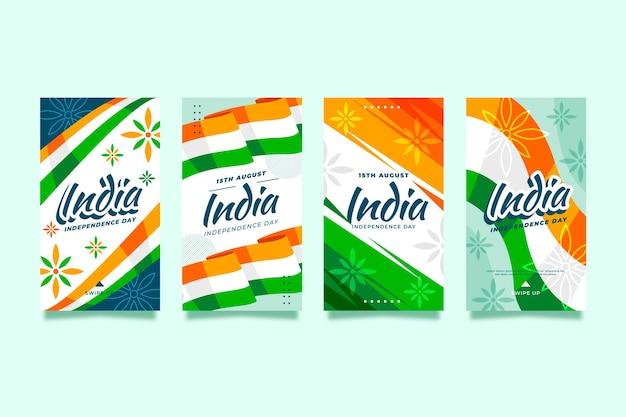 Coleção de histórias do instagram do dia da independência da índia plana