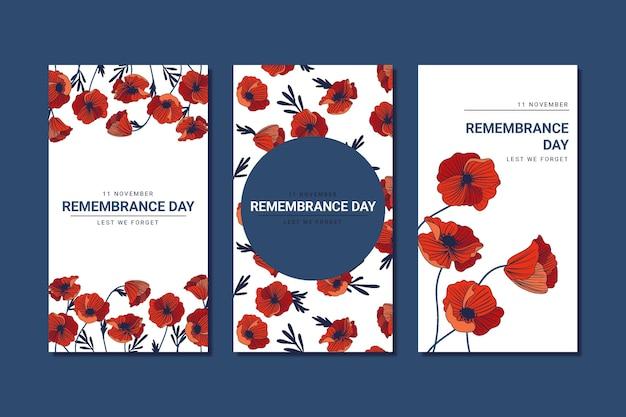 Coleção de histórias do instagram do dia da lembrança desenhada à mão