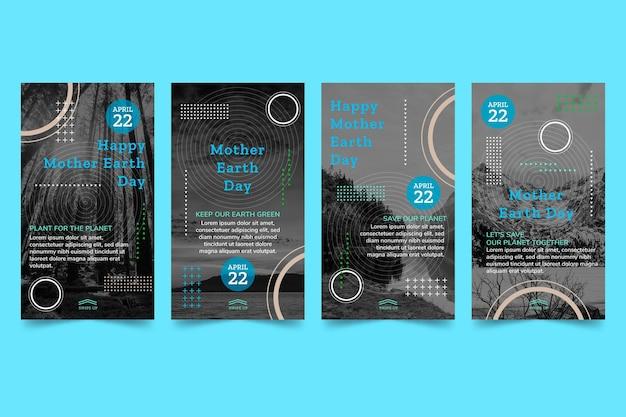 Coleção de histórias do instagram do dia da mãe terra