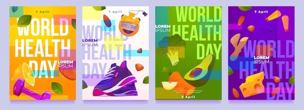 Coleção de histórias do instagram do dia da saúde no mundo plano Vetor grátis