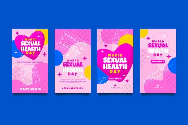 Coleção de histórias do instagram do dia da saúde sexual do mundo plano