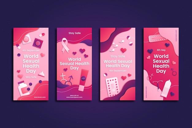Coleção de histórias do instagram do dia da saúde sexual mundial em estilo papel