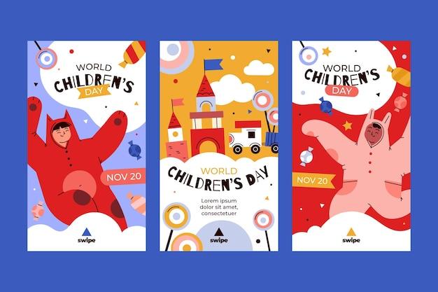 Coleção de histórias do instagram do dia das crianças desenhadas à mão.
