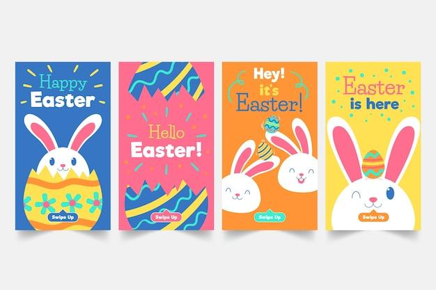 Coleção de histórias do instagram do dia de páscoa com coelho