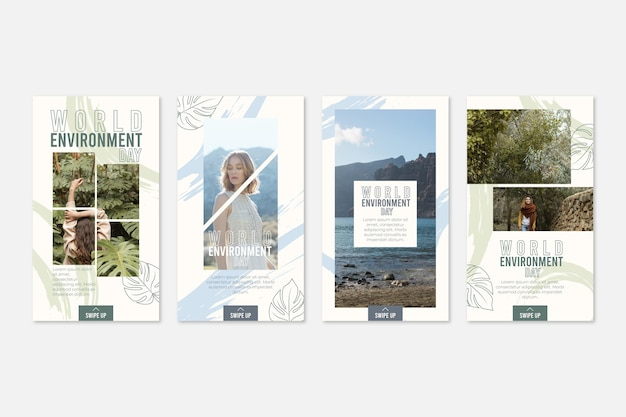Coleção de histórias do instagram do dia do ambiente do mundo plano