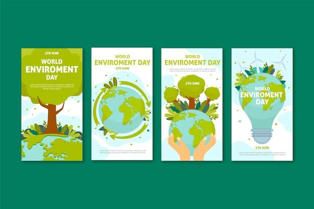 Coleção de histórias do instagram do dia do ambiente do mundo plano Vetor grátis