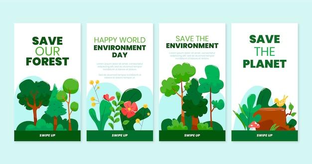 Coleção de histórias do instagram do dia do ambiente mundial desenhada à mão