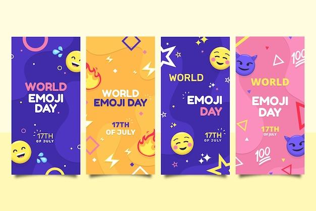 Coleção de histórias do instagram do dia do emoji do mundo plano