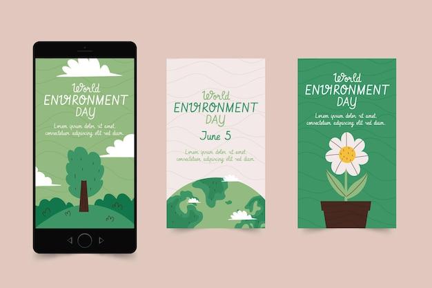 Coleção de histórias do instagram do dia do meio ambiente mundial desenhada à mão