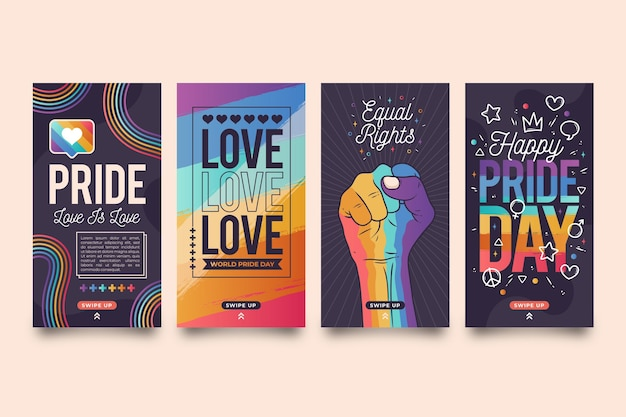 Coleção de histórias do instagram do dia do orgulho desenhada à mão