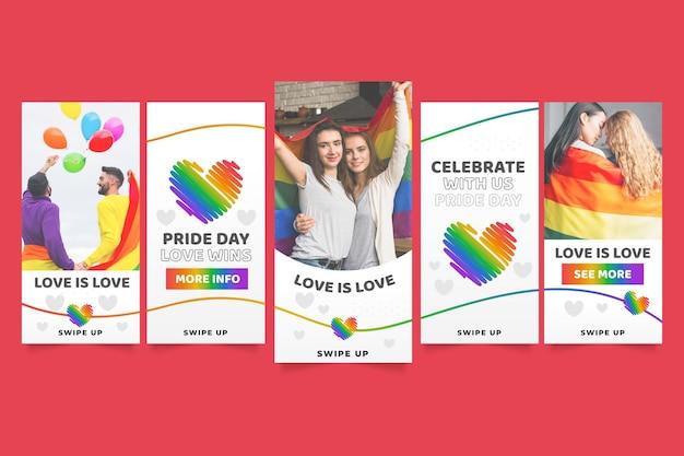 Coleção de histórias do instagram do dia do orgulho gradiente