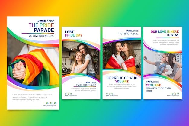 Coleção de histórias do instagram do dia do orgulho gradiente Vetor grátis
