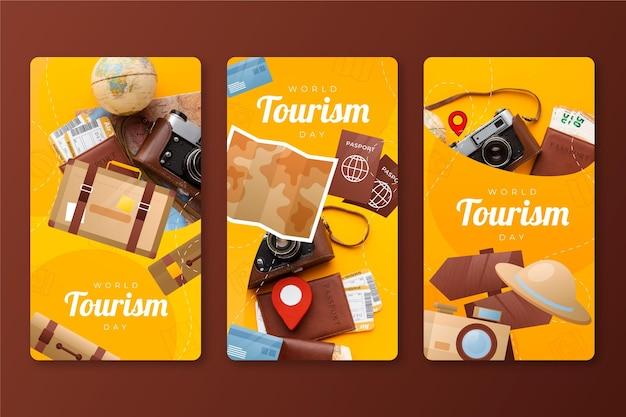Coleção de histórias do instagram do dia do turismo mundial em gradiente com foto
