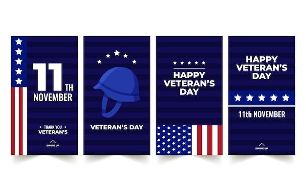Coleção de histórias do instagram do dia do veterano desenhada à mão