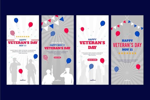 Coleção de histórias do instagram do dia do veterano plana