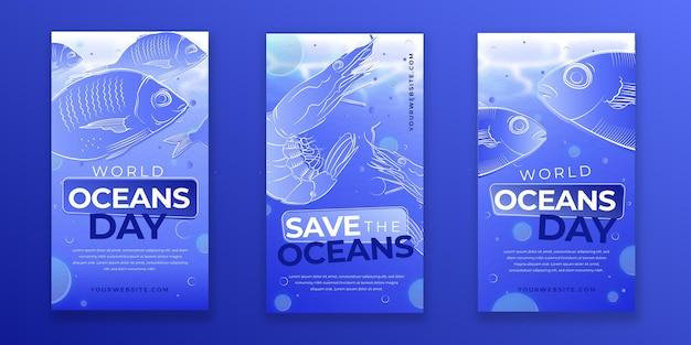Coleção de histórias do instagram do dia dos oceanos do mundo gradiente