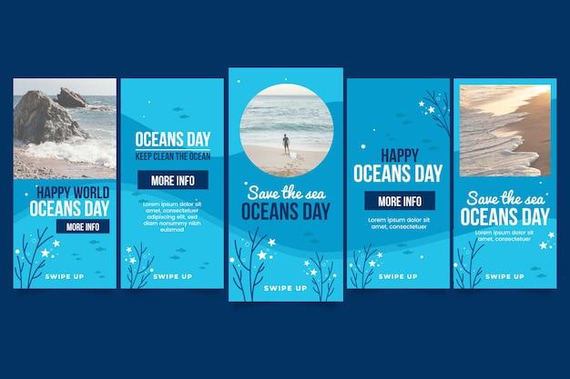 Coleção de histórias do instagram do dia dos oceanos do mundo plano