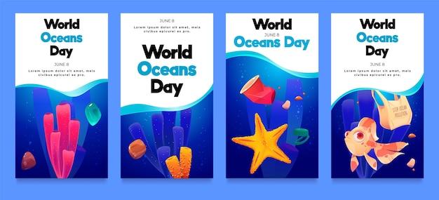 Coleção de histórias do instagram do dia dos oceanos em desenhos animados