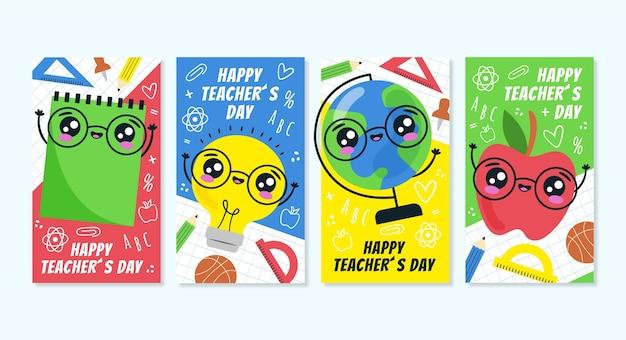Coleção de histórias do instagram do dia dos professores desenhada à mão