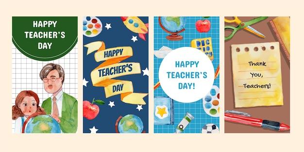 Coleção de histórias do instagram do dia dos professores em aquarela