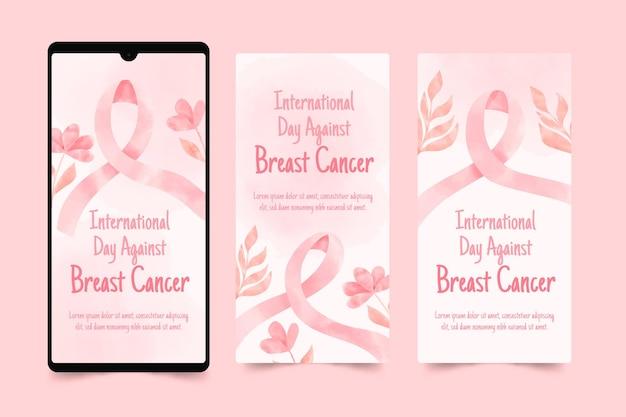 Coleção de histórias do instagram do dia internacional contra o câncer de mama em aquarela