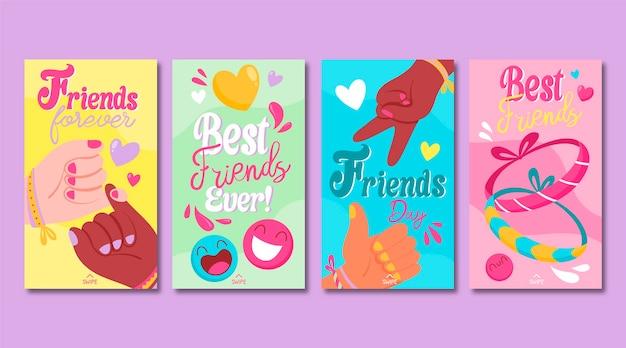 Coleção de histórias do instagram do dia internacional da amizade desenhada à mão