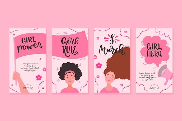 Coleção de histórias do instagram do dia internacional da mulher desenhada à mão