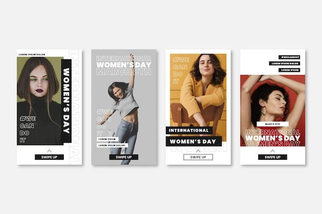Coleção de histórias do instagram do dia internacional da mulher