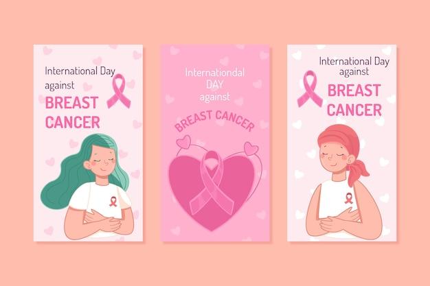 Coleção de histórias do instagram do dia internacional desenhada contra o câncer de mama