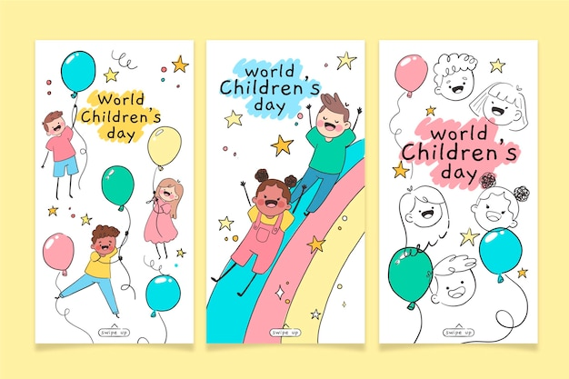 Coleção de histórias do instagram do dia mundial da criança desenhada à mão