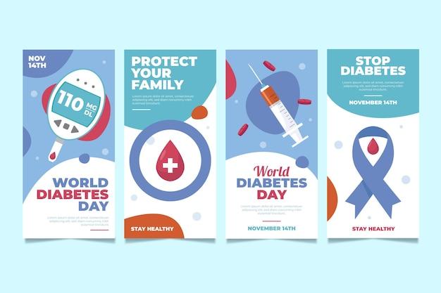 Coleção de histórias do instagram do dia mundial da diabetes desenhada à mão