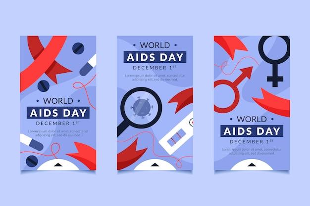 Coleção de histórias do instagram do dia mundial de ajuda desenhada à mão