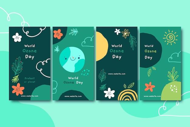 Coleção de histórias do instagram do dia mundial do ozônio desenhada à mão