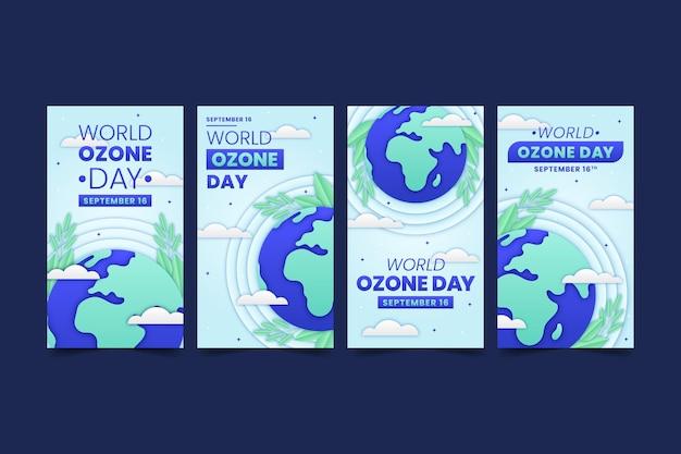 Coleção de histórias do instagram do dia mundial do ozônio em estilo papel