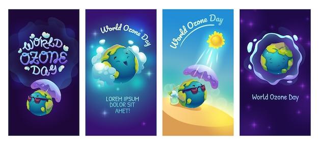 Coleção de histórias do instagram do dia mundial do ozônio plano