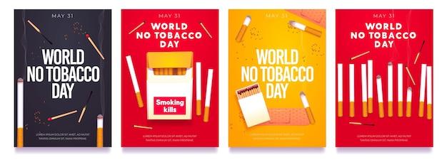 Coleção de histórias do instagram do dia sem tabaco realista