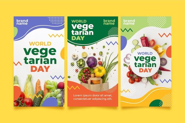 Coleção de histórias do instagram do dia vegetariano do mundo plano com foto