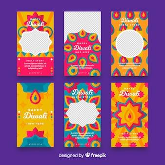 Coleção de histórias do instagram do festival de diwali