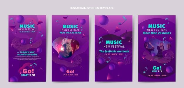 Coleção de histórias do instagram do festival de música colorida gradiente