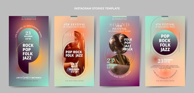 Coleção de histórias do instagram do festival de música de textura gradiente