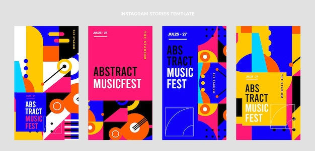 Coleção de histórias do instagram do festival de música mosaico plano