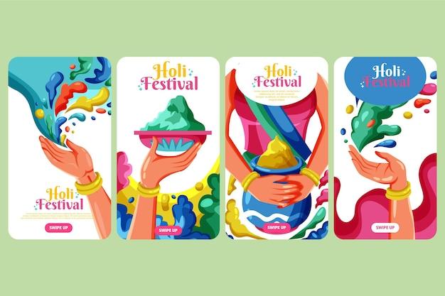 Coleção de histórias do instagram do festival holi